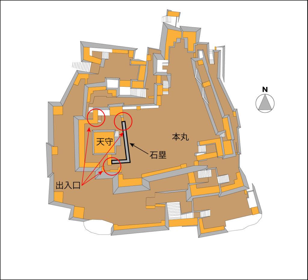 津山城の縄張図