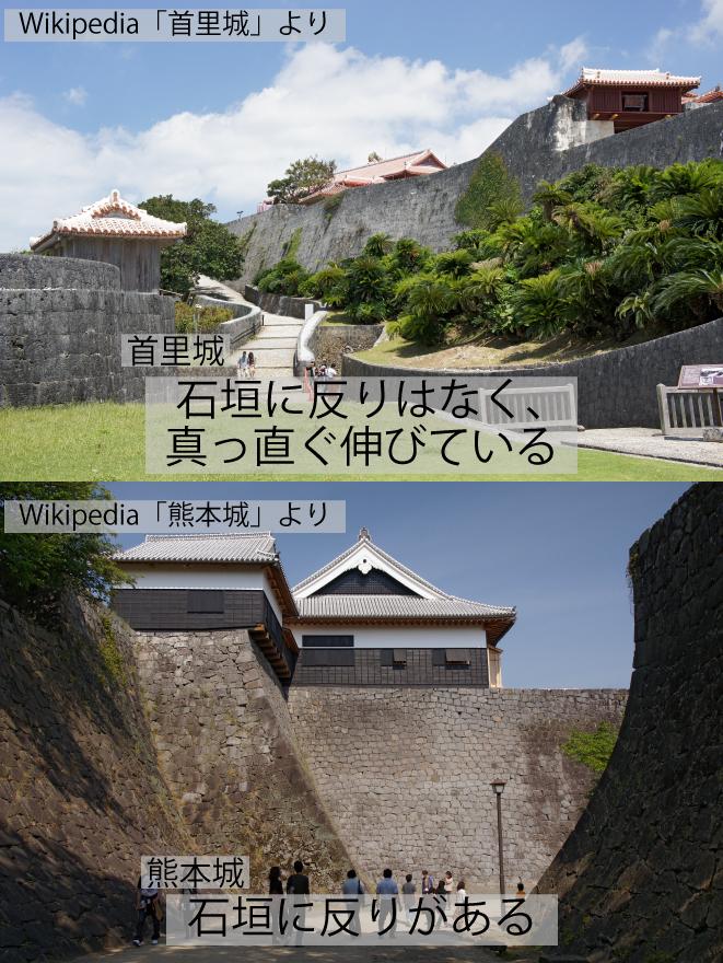 首里城と熊本城の石垣の比較