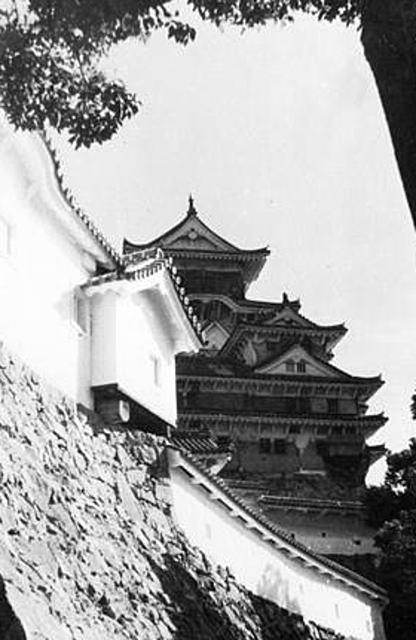 黒い網をかけられた姫路城天守