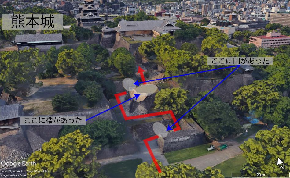 熊本城の出入り口ー竹の丸五階櫓跡
