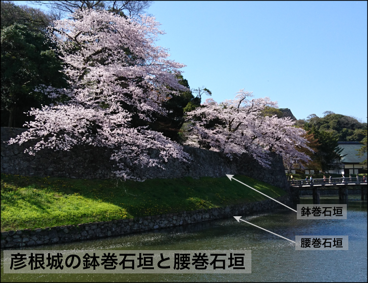 彦根城の鉢巻石垣と腰巻石垣
