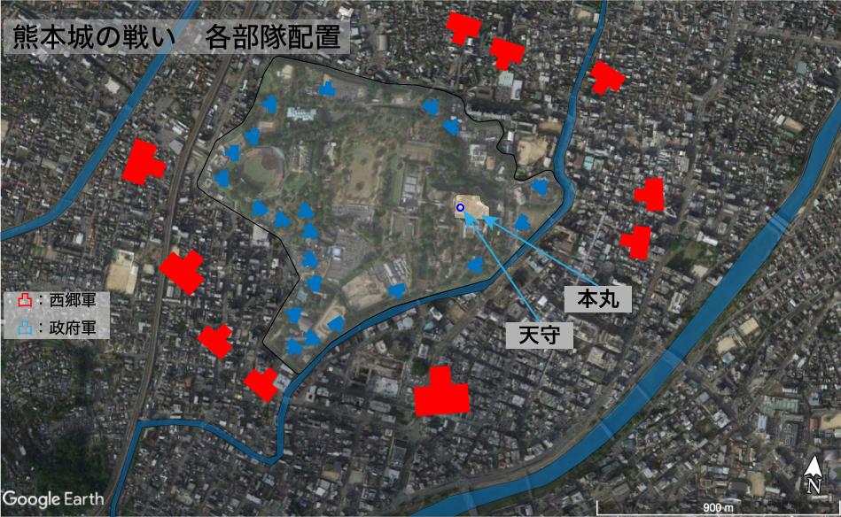熊本城の戦いー部隊配置