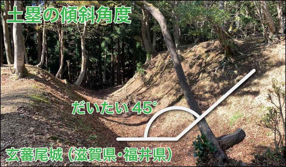 土塁の傾斜角度