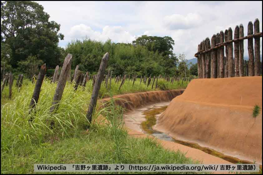 吉野ヶ里遺跡の濠と柵と乱杭 Wikipedia「吉野ヶ里遺跡」より