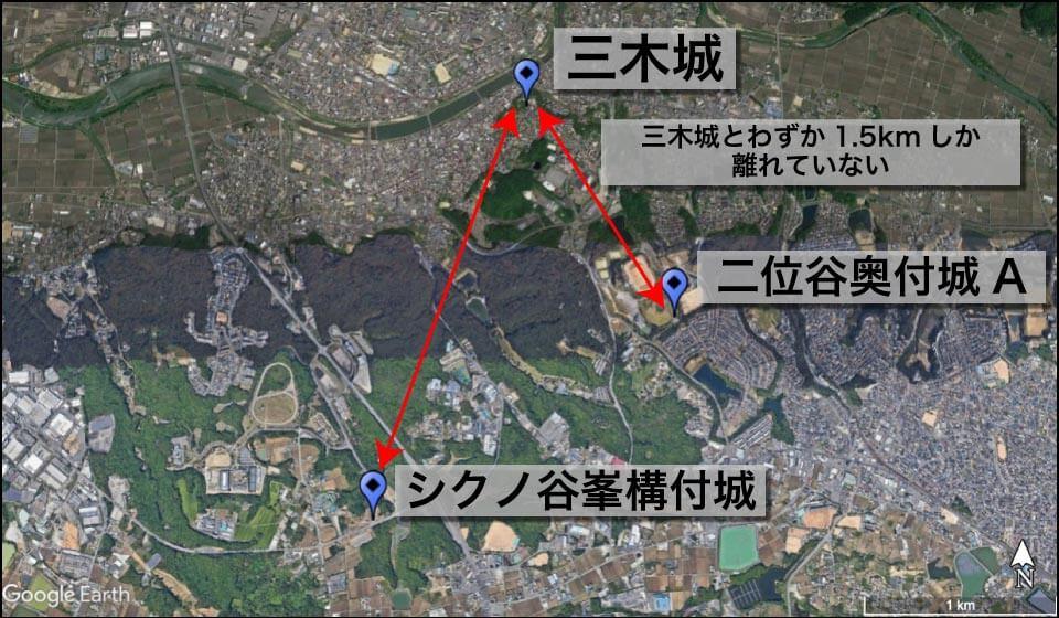 三木城と付城の位置関係