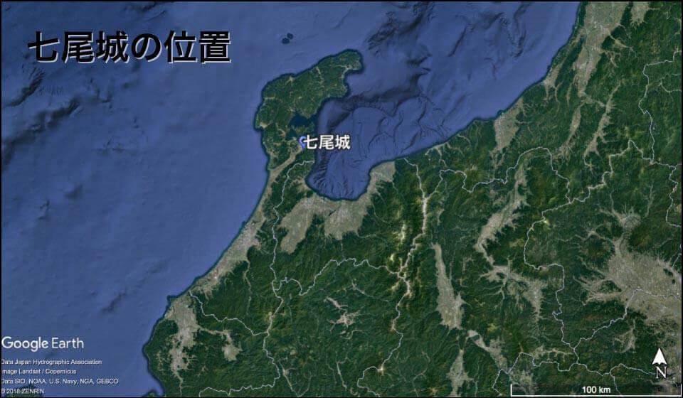 七尾城(石川県)の場所
