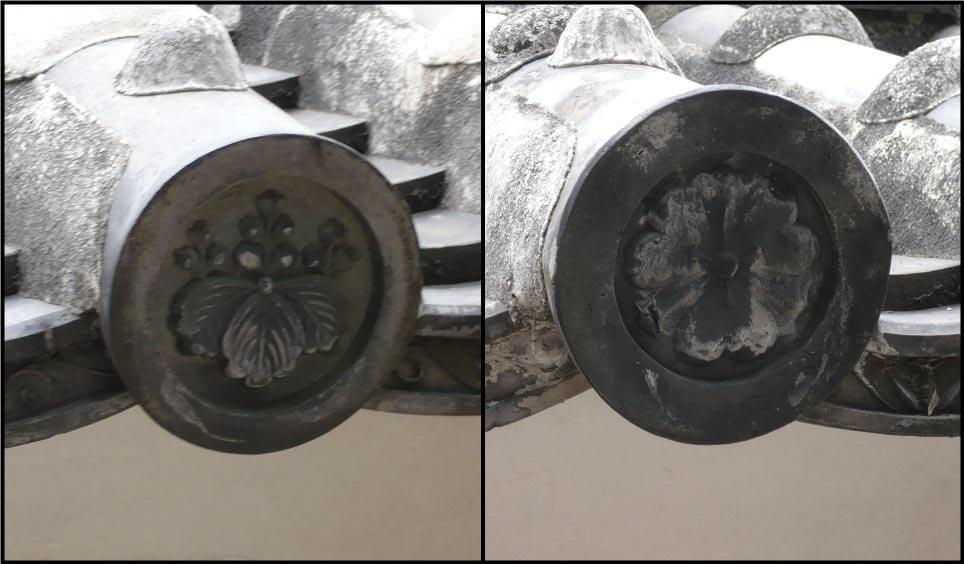 姫路城に残されている家紋の入った瓦