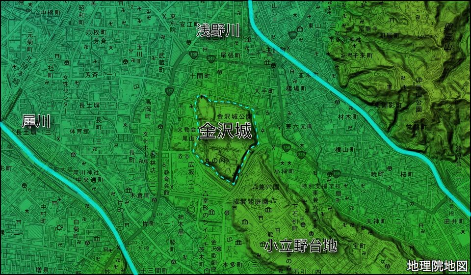 金沢城周辺の地形