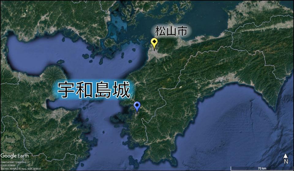 宇和島城の位置