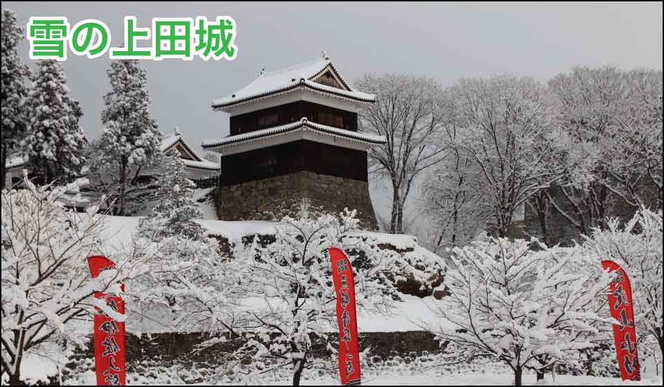 雪の上田城