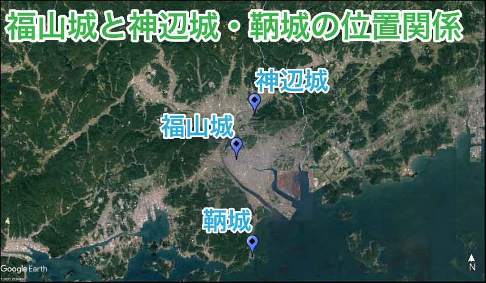 福山城と神辺城・鞆城の位置関係